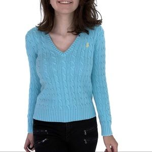Ralph Lauren Blue Cable Knit Polo Sweater